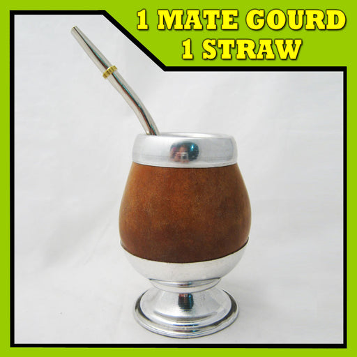 ARGENTINA MATE GOURD CUP GREEN TEA STRAW BOMBILLA HANDMADE ARTISAN KIT NEW 4224!