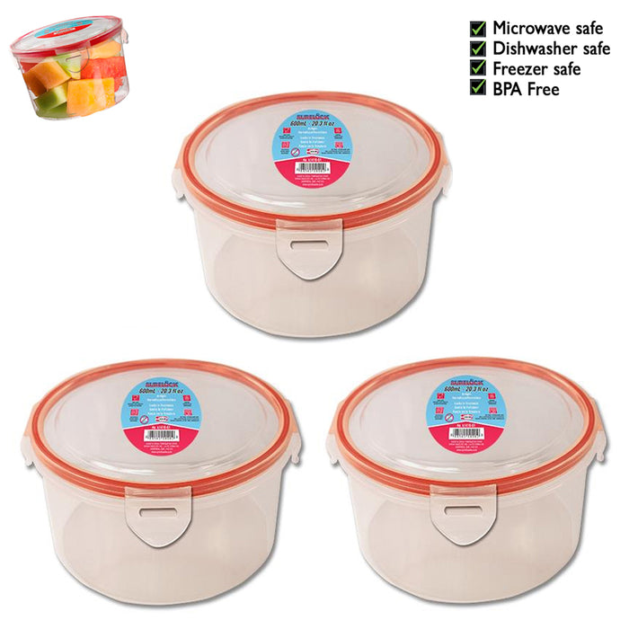 3 Plastic Food Storage Containers Microwavable Meal Prep Air Tight Locking Lids
