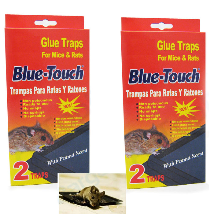 4 Mouse Traps Sticky Glue RAT Mice Traps Disposable Glue Boards Baited Trays