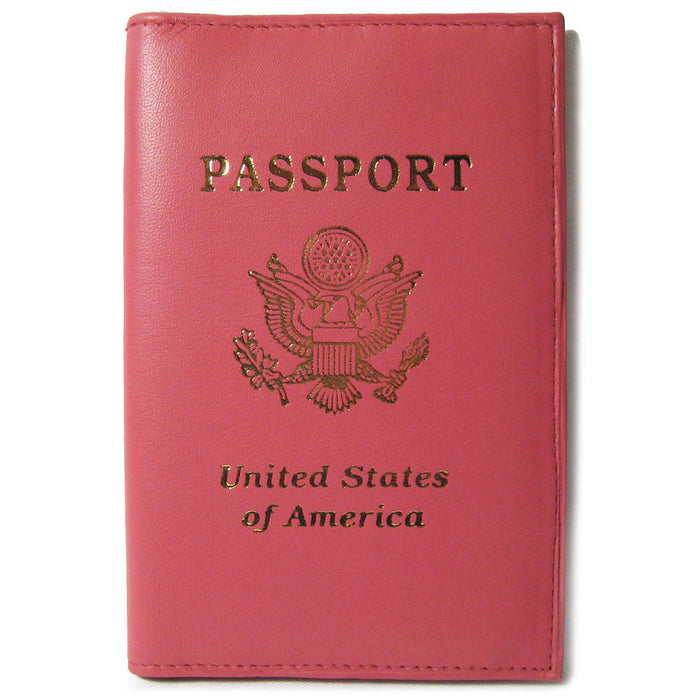 1 Genuine Pink Leather Passport Cover CASE Holder Wallet Travel Gold US Seal