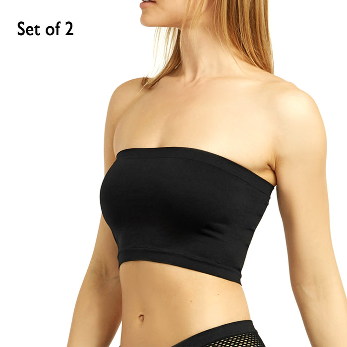 2 Women Seamless Strapless Bra Bandeau Fit Fashion Tube Top Sport Bra Yoga Shirt