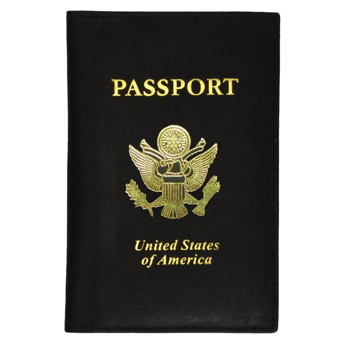 Travel Leather US Passport Organizer Hold Card Case Protector Cover Wallet Black