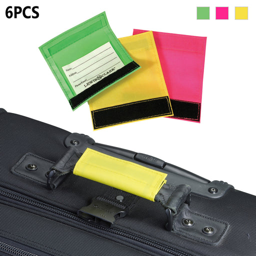 6 Pc Lewis N. Clark Luggage Handle Grip Wraps Suitcase Identifier Name ID Travel