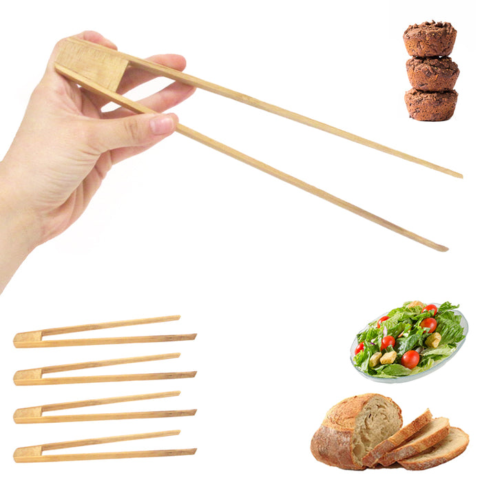 "5X Bamboo Wooden Food Toast 12"" Tongs Bread Bagel Bacon Sugar Ice Tea Salad Home"