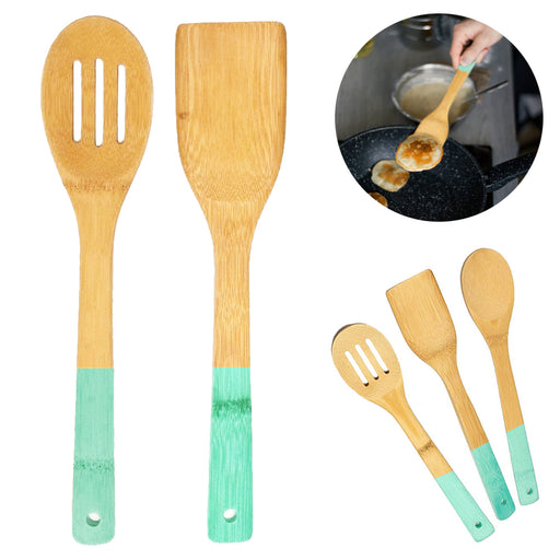 2 Bamboo Spoon Spatula Wooden Set Kitchen Cooking Mixing Tools Utensil Non Stick