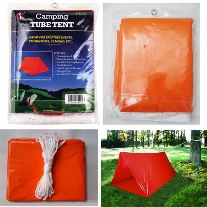 2 Pack Outdoor Emergency Tube Tent Camping Survival Shelter Lightweight Compact