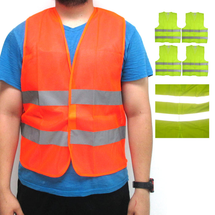 4 High Visibility Reflective Safety Vest 2 Strips Construction Sports Warehouse