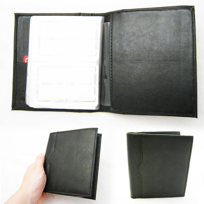 Leather Business Card Organizer Book Holder Black Compact Case Wallet Men Women