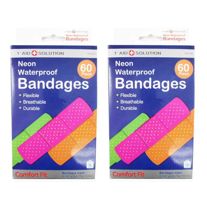 "120 Neon Adhesive Bands Waterproof Bandages Strip 3/4"" Kids Children First Aid"