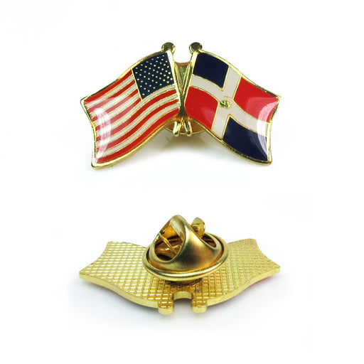 1 American & Dominican Republic Crossed Flags Lapel Pin Friendship Hat Cap Gift