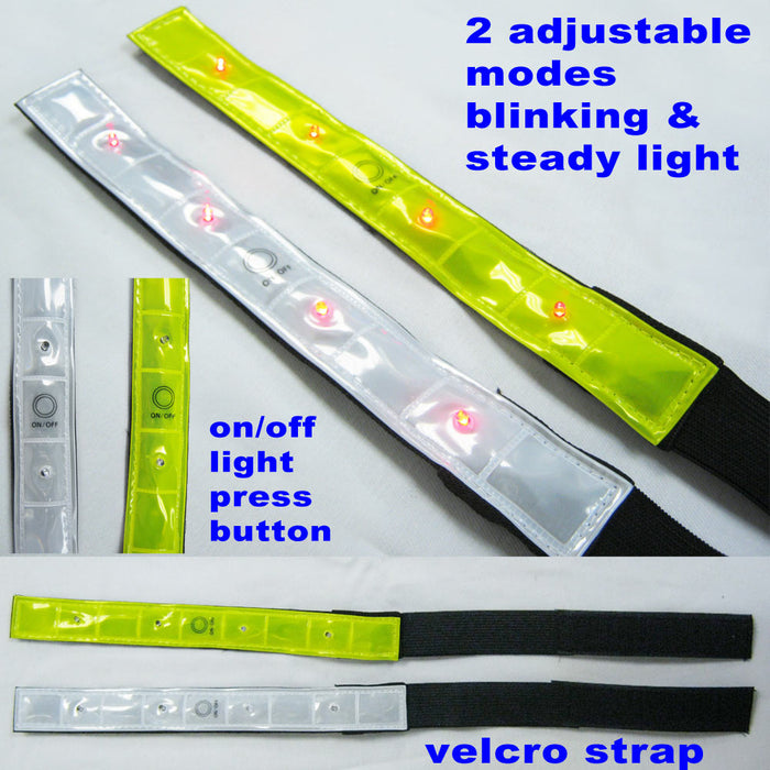 2pc High Visibility Reflective Arm Leg Bands 4 Led Lights Strap Bike Run Cycling
