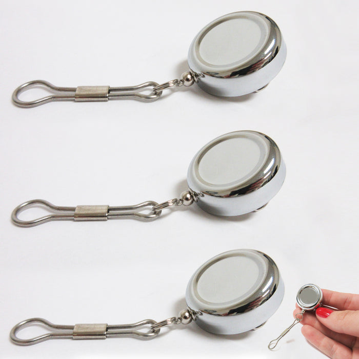 3X Key Chain Reel ID Holder Retractable Nurse Badge Card Name Tag Clip Duty Belt