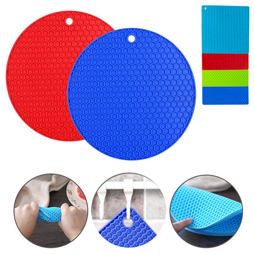 2PC Silicone Pot Holders Trivets Mat Food Safe Heat Resistant Jar Opener Gripper