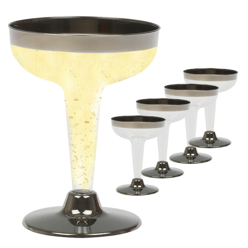 5Pcs Champagne Wine Flutes Plastic Glasses Silver 4.5oz Wedding Party Disposable