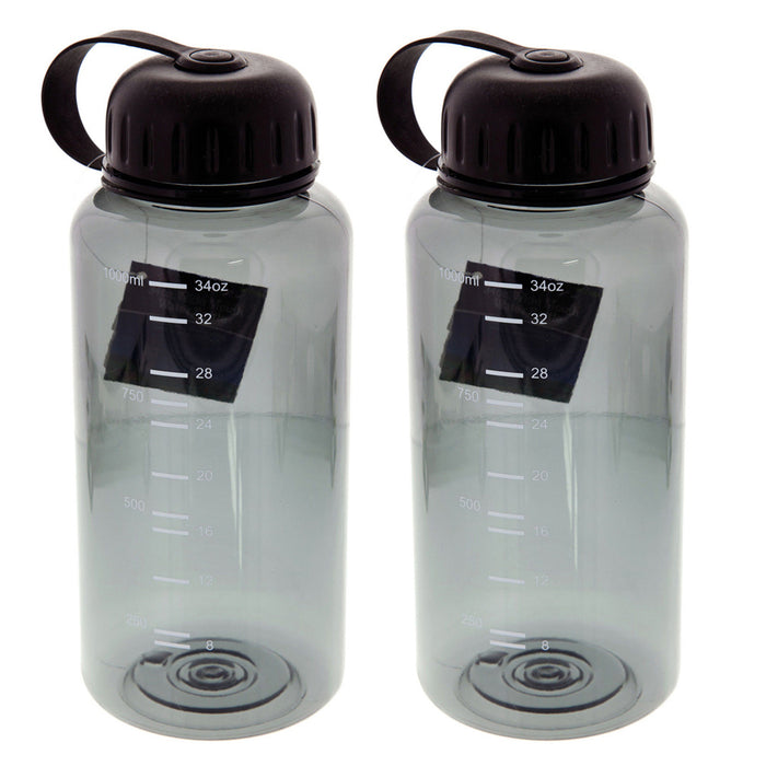 2 Pack Wide Mouth 34oz Water Bottles BPA Free Grip Gulp Sports Drinking Gym Hike