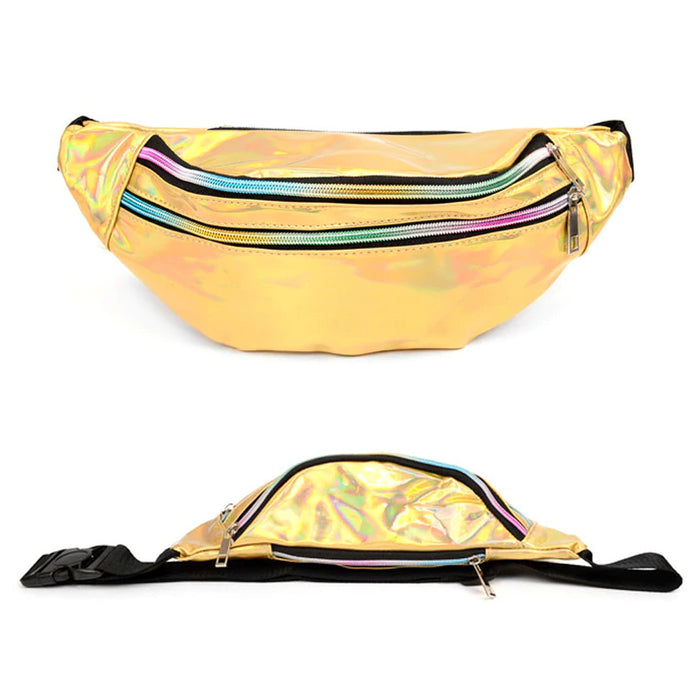 Shiny Fanny Pack Adjustable Belt Waist Bag Hip Rave Festival Hologram Bum Travel