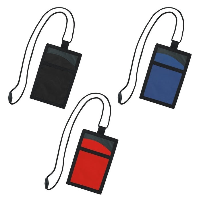 2 Pack Travel Pouch ID Badge Holder with Neck Lanyard Passport Cover Wallet Case