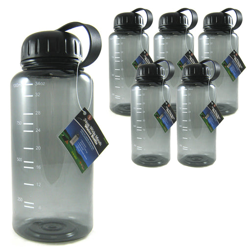 6 Pack Sports Water Bottles Fitness BPA Free 34 oz Wide Mouth Easy Open Drinking