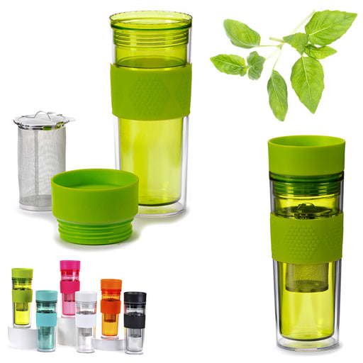 Tea Infuser Water Bottle Tumbler Loose Leafs Stainless Steel Strainer Travel Cup