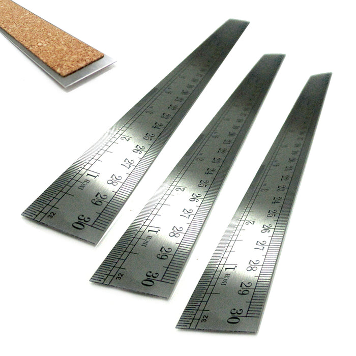 "3PC Metal Rulers 12"" Stainless Steel Straight Edge Drawing Cutting Non Skid Back"