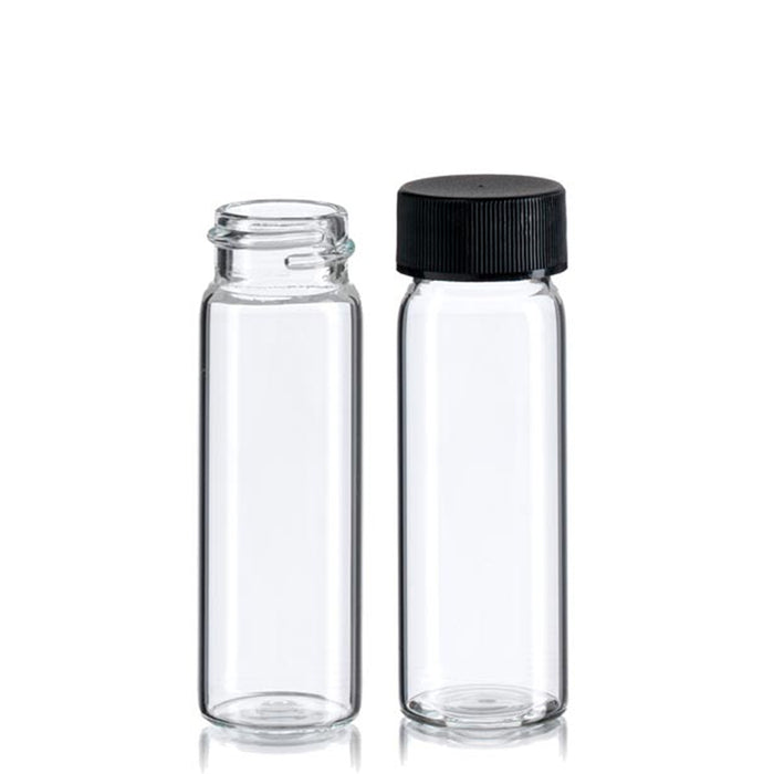 80PC Bottles Mini Clear Glass Vial Sample Black Cap 1 3/8 Tall 4 mL Gold Panning
