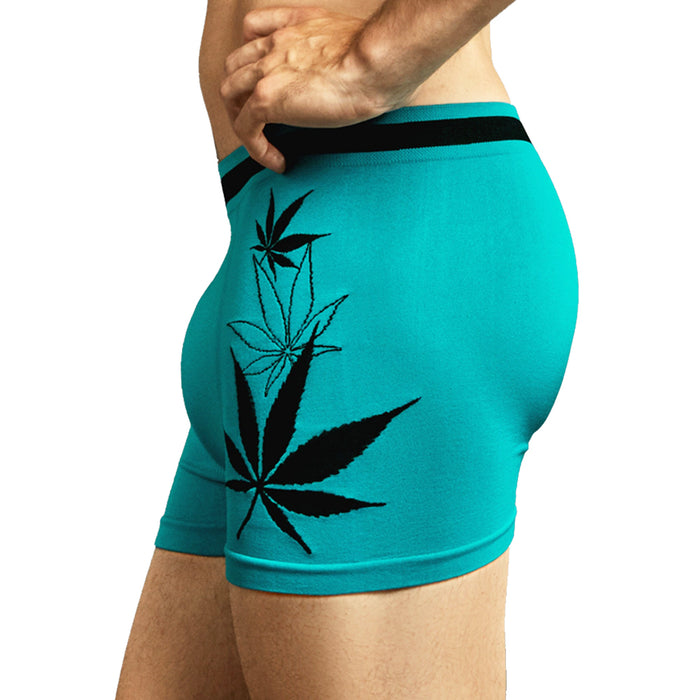6 Mens Microfiber Seamless Boxer Briefs Underwear Cannabis Leaf Comfort Flex Set