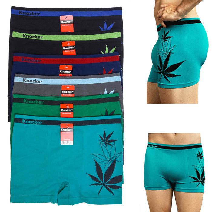 12 Mens Underwear Seamless Boxer Briefs Comfort Flex Waistband Cannabis Leaf Lot