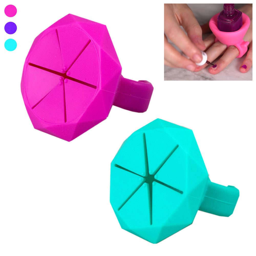 2 Pc Wearable Nail Polish Bottle Holder Silicone Finger Ring Home Manicure Stand