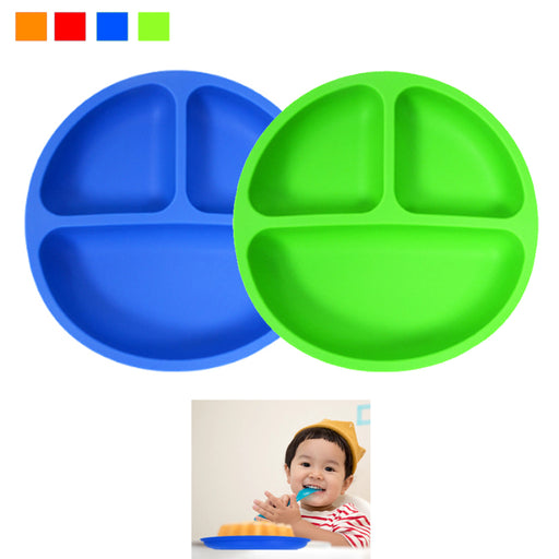 2PC Toddler Silicone Plates Set Divided Baby Plates Non-Toxic BPA Free Skidproof
