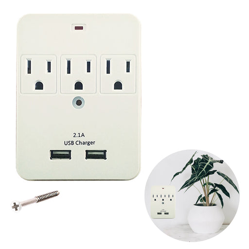 Surge Protector Wall Mount Tap Adapter Multi Plug 3 Outlet 2 USB Port ETL Listed