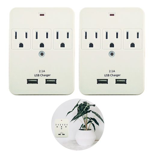 2 Pack Surge Protector 3-Outlet 2-USB Ports Wall Mount Adapter Tap ETL Listed