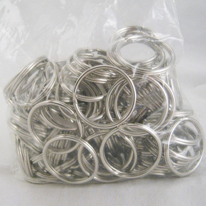 "100 Pc 1"" Key Rings Keyrings Key Chains Split Nickel Plated Double Loop New !"