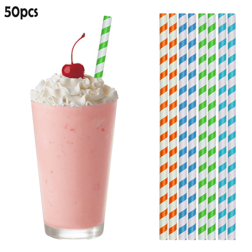 "50PC Long Paper Straws 10"" Biodegradable Color Stripes Eco-Friendly Drinks Decor"