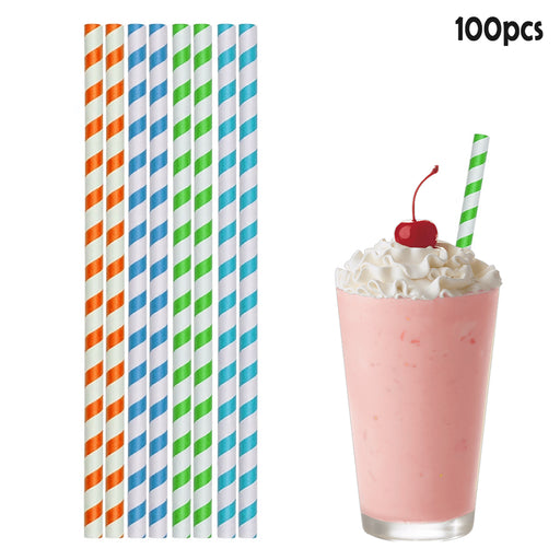 "100ct Paper Straws Smoothie 10.25"" Eco-Friendly Color Stripes Home Drinks Party"