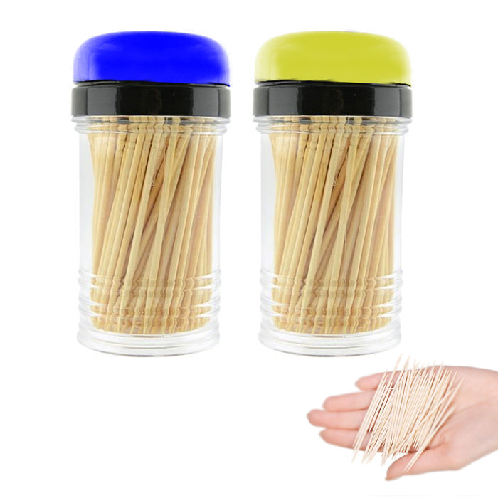 800PC Natural Bamboo Toothpicks 4 Bottle Dispenser Home Party Cocktail Appetizer