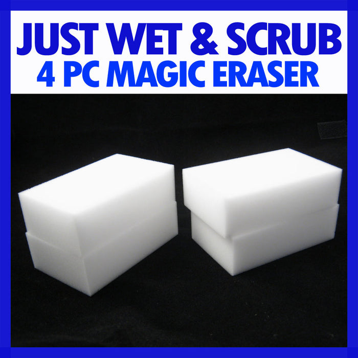 4 PC Magic Sponge Eraser Wash Washing Marks Stains Household White Cleaner Block