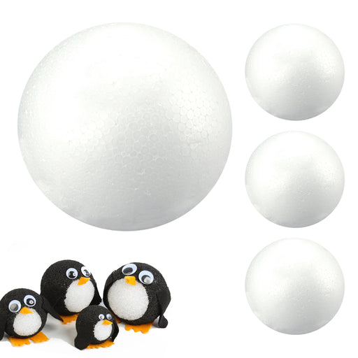"4 Pack Smooth White Craft Foam Balls 5"" Round Arts School Projects Decor Wedding"