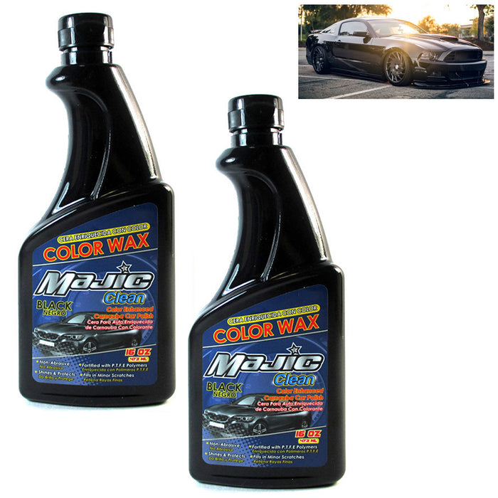 2 Black Car Polish Wax 16oz Carnauba Auto Care Shine Paint Finish Color Enhancer