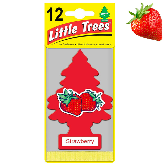 12 Little Trees Strawberry Scent Air Freshener Car Auto Pack Home Hanging Office