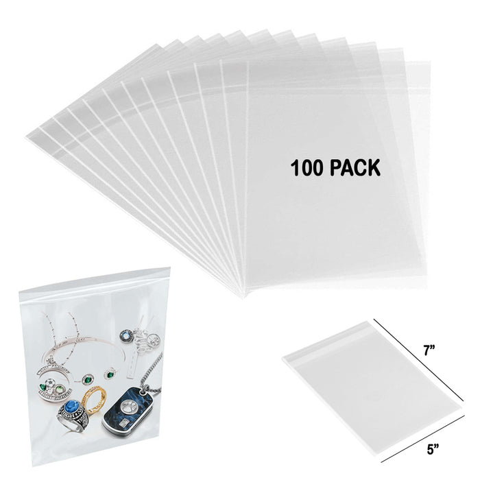 "100 Clear Poly Bags 3MIL 7""x5"" Reclosable Heavy Duty Plastic Small Zipper Baggie"