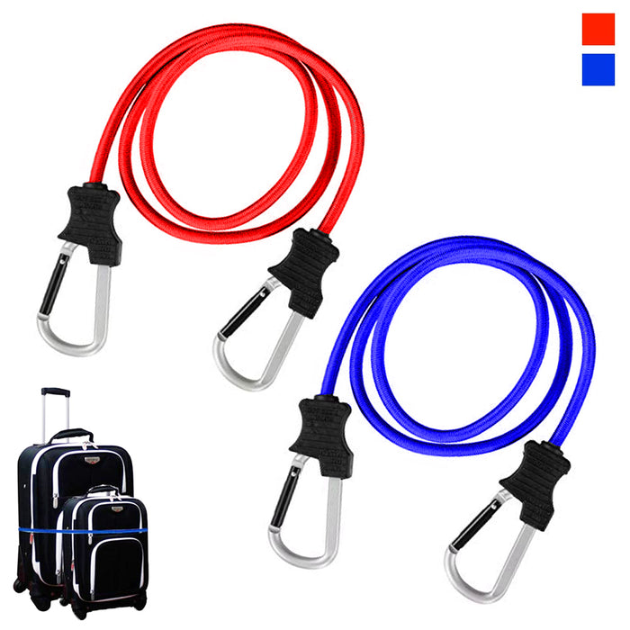 bcbe9eb51d8d 2PC Carabiner Bungee Cords with Hook Tie Downs Luggage Strap Carrying Bag  Secure
