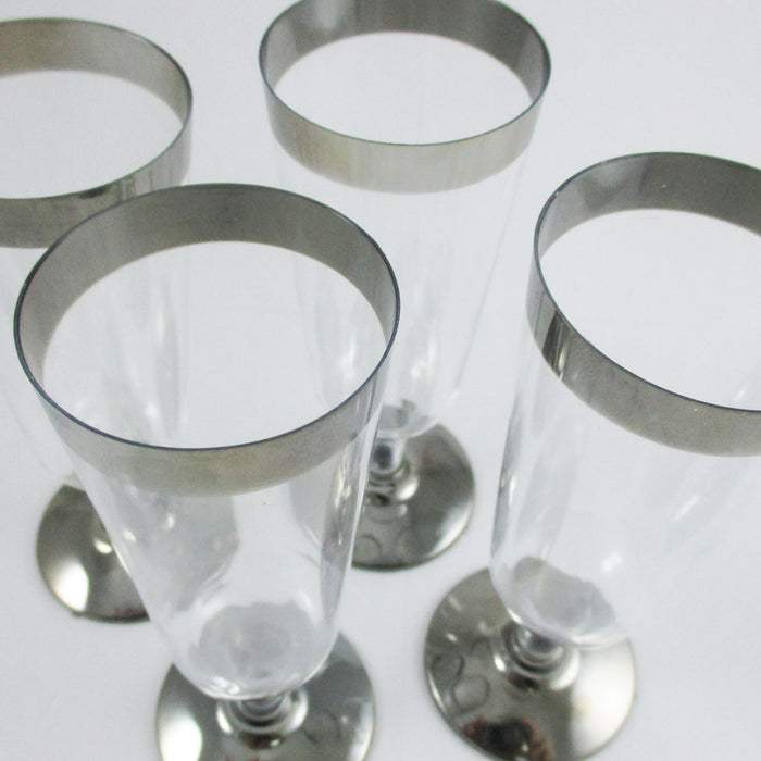 12 Pc Plastic Champagne Flute Wedding Party Silver Rimmed Disposable Wine Glass