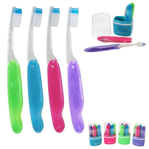 4 Toothbrush W/ Case Travel Portable Hike Camping Brush Cleaner Protect Gift Box