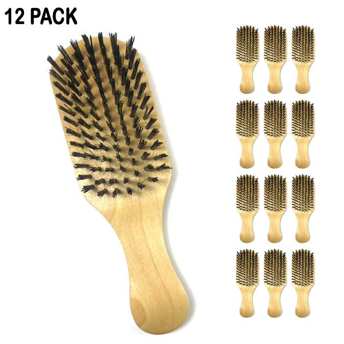 12 Pack Boar Bristle Hair Brush Wooden Paddle Mustache Grooming Shining Comb Kit