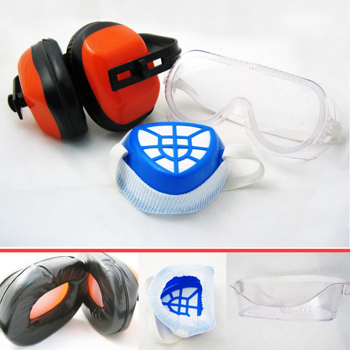 3pc Safety Goggles Face Mask Protection Kit Anti Dust Filter Ear Muff Glasses !