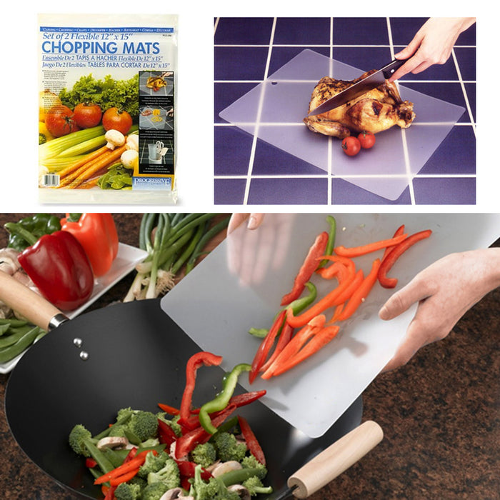 4 Flexible Chopping Mats Kitchen Fruit Vegetable Plastic Cutting Board Camp New