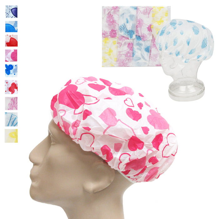 12 Pack Shower Cap Women Bath Hat Waterproof Elastic Band Protects Hair Home Lot