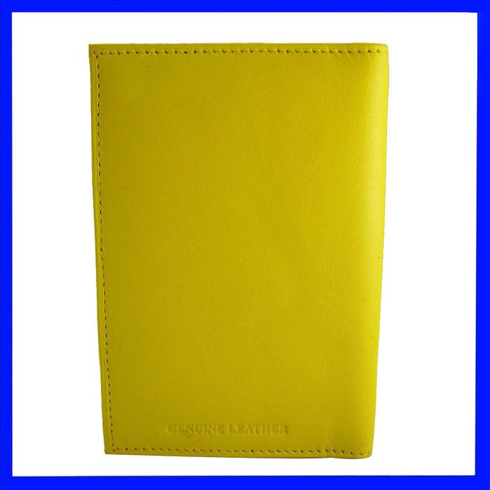 Genuine Leather Passport Holder Yellow Cover Case Travel Wallet Us Seal Gold New