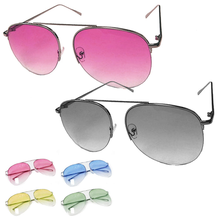 2 PAIRS SUNGLASSES AVIATOR MEN WOMEN NEW LENS FRAME COLOR RETRO VINTAGE STYLE
