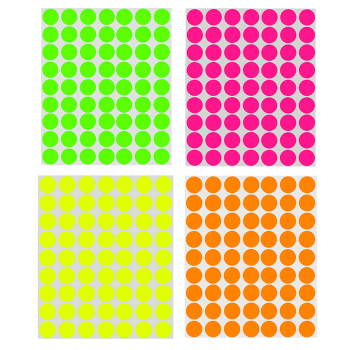 1008 Pack Circle Dot Stickers 1 Inch Round Labels Bright Neon Colors Coding Tags
